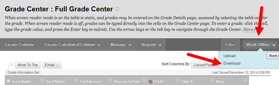Blackboard Grade Center