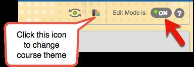 Click the theme icon to change course theme
