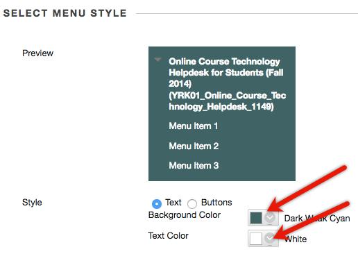 Pick menu colors