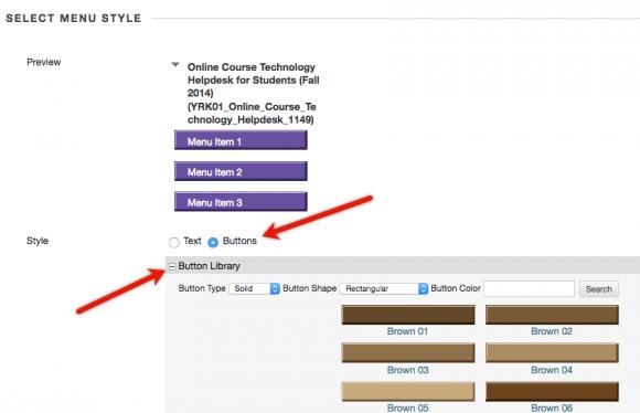 Select menu buttons